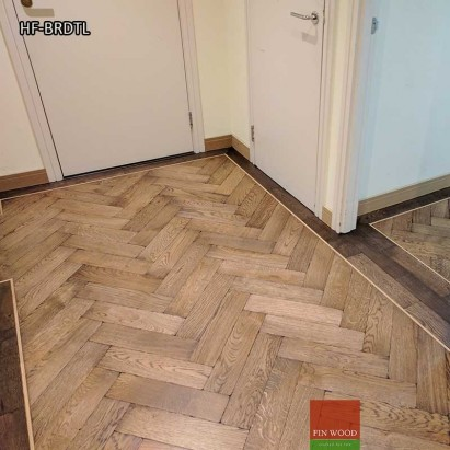 Herringbone flooring with border and tramline by Fin Wood Ltd London #CraftedForLife