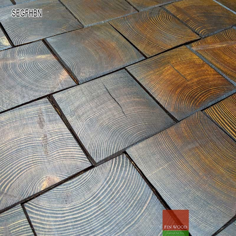 Square End Grain Flooring Fitting Hand Bevelled Natural