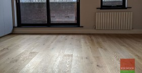 Engineered oak wood flooring fitted in award winning eco apartment in Kensington, W8