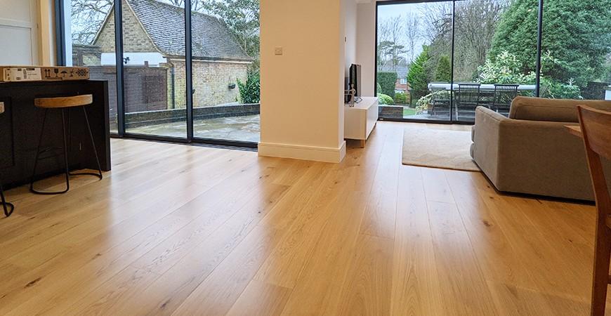 Outstanding feedback from customers in Surrey delighted with wide oak floor boards, KT4