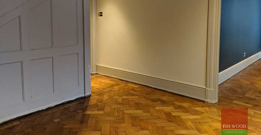 Old parquet restored and new Oak floor fitted in Arts & Crafts Home