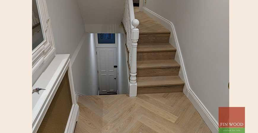 Herringbone Parquet Replaces New Carpet and Transforms Home #CraftedForLife