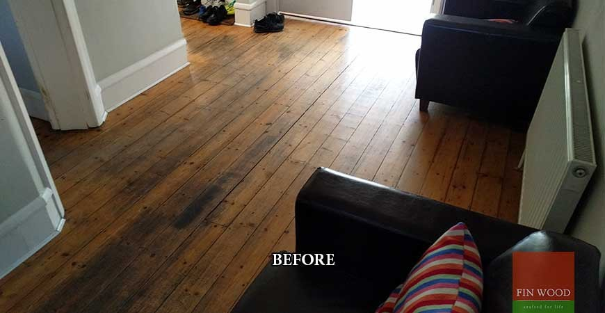 Beautiful aged oak parquet with wooden flooring on stairs