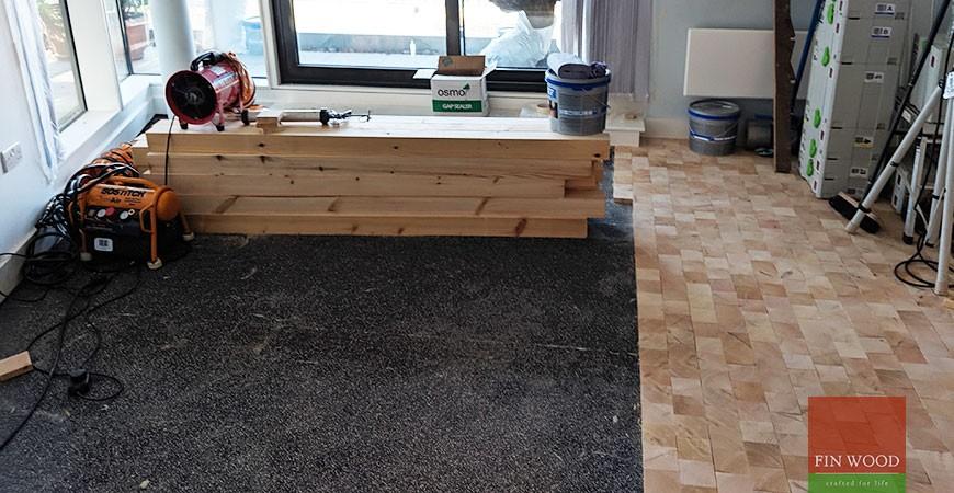 Pine end grain block wooden floor brings a scandinavian look to Tower Bridge, E1
