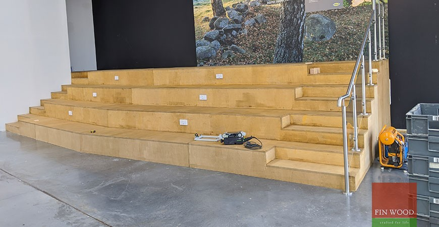 Scandi end grain cladding on stadium style seating  creates a smart rubik's cube design Greenwich SE10 #CraftedForLife