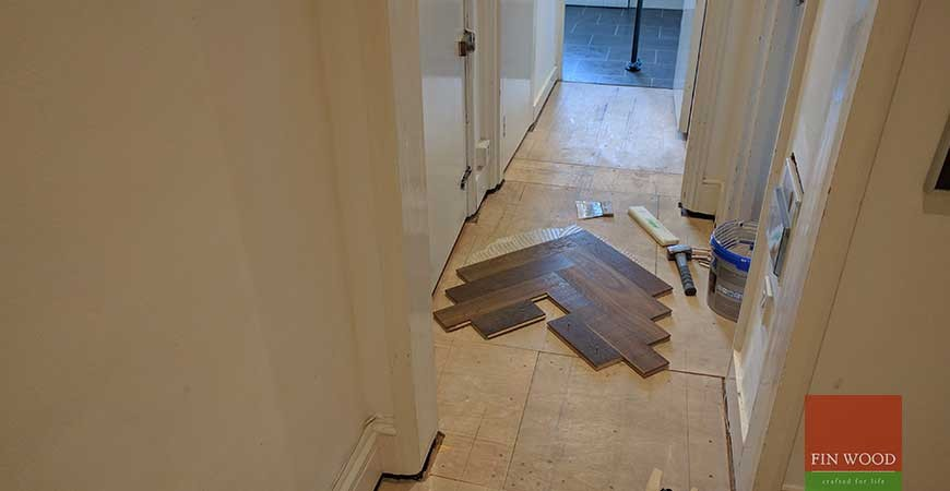 Oak Engineered Herringbone Parquet Installation with border in NW6 Hampstead, London #CraftedForLife