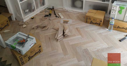 Herringbone Oak Parquet Installation in NW6 Maida Vale, London #CraftedForLife