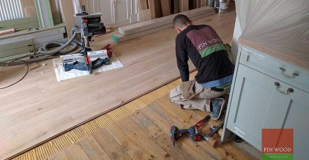 Oak Engineered Boards Installation, custom finished with white oil SW19 Southfields, London