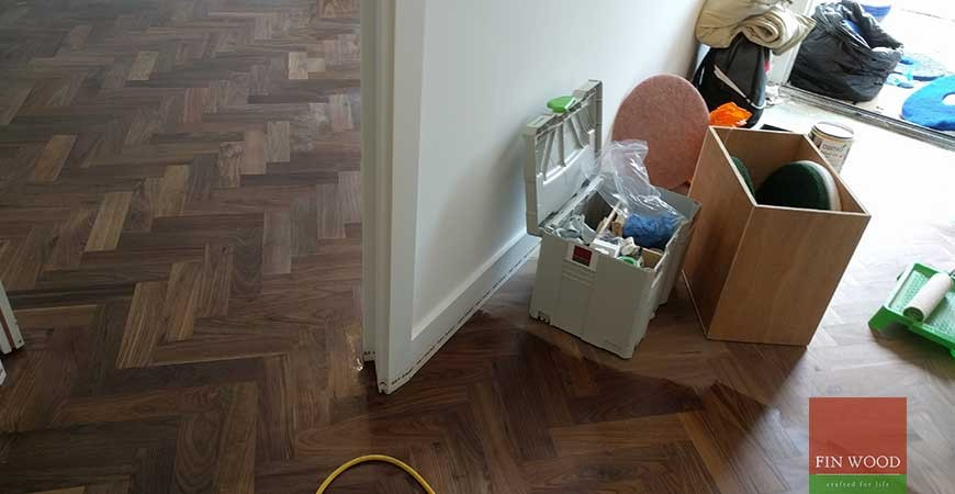 Walnut Herringbone Parquet Installation custom stair cladding in SE5 Denmark Hill, London