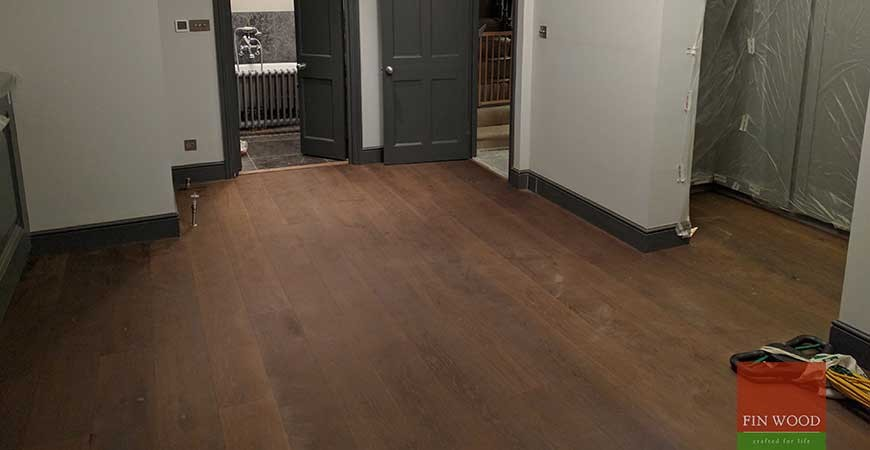 Baked Oak Engineered Boards Installation lacquer finished in SW18 Wandsworth, London
