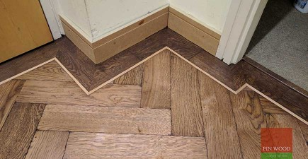 Oak Herringbone Parquet Installation and custom staining in SE10 North Greenwich, London #CraftedForLife
