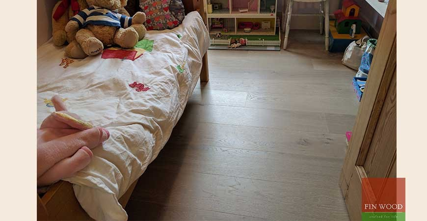 Grey oak engineered wood floor in N10 Muswell Hill - cool and practical #CraftedForLife
