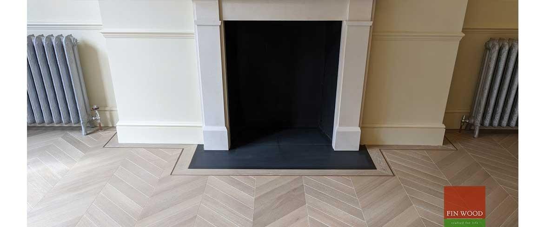 Fireplaces in wood flooring by Fin Wood Ltd #CraftedForLife #CraftedForLife